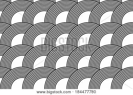Vector Seamless Pattern. Modern Stylish Texture. Geometric Striped Ornament. Monochrome Linear Weavi