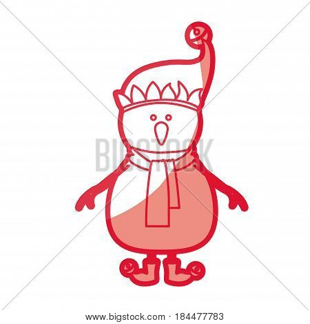 red silhouette of snowman with cap and scarf and boots with balls vector illustration
