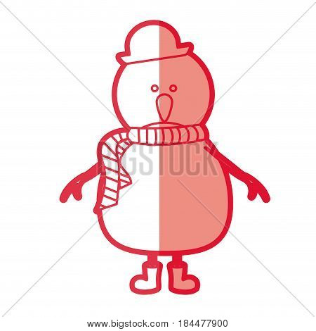 red silhouette of snowman with boots and scarf and hat vector illustration
