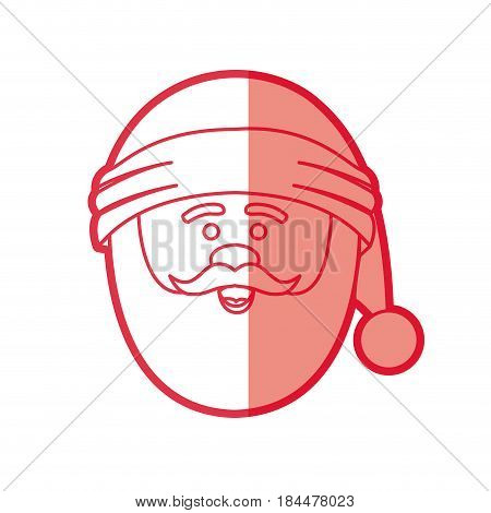 red silhouette of santa claus face with christmas hat vector illustration