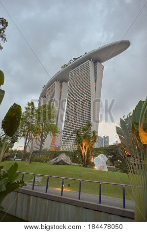 SINGAPORE - CIRCA NOVEMBER, 2015: Marina Bay Sands Hotel. The resort is designed by Moshe Safdie, who says it was initially inspired by card decks.