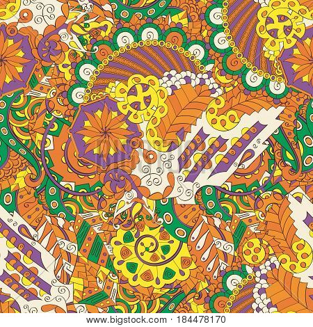 Tracery Seamless Calming Pattern. Mehendi Design. Ethnic Orange Doodle Texture. Indifferent Discreet