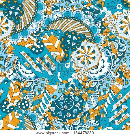 Tracery Seamless Calming Pattern. Mehendi Design. Ethnic Colorful Blue Doodle Texture. Indifferent D