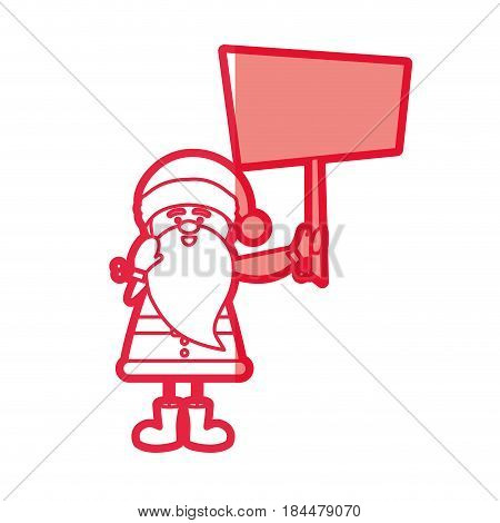 red silhouette caricature of santa claus with banner vector illustration