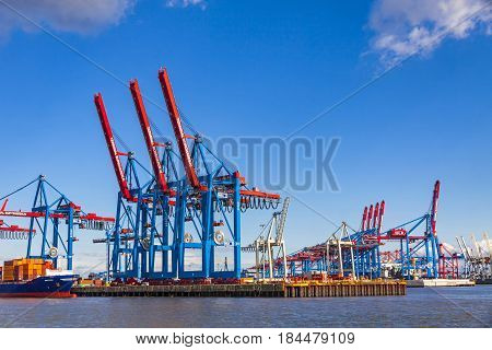 Port Of Hamburg On The River Elbe, Germany