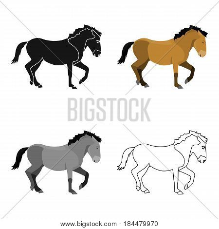 Mongolian horse. Vehicle ancient mongolov in the war.Mongolia single icon in cartoon style vector symbol stock web illustration.