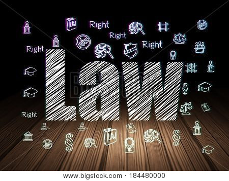 Law concept: Glowing text Law,  Hand Drawn Law Icons in grunge dark room with Wooden Floor, black background