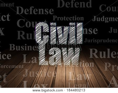 Law concept: Glowing text Civil Law in grunge dark room with Wooden Floor, black background with  Tag Cloud