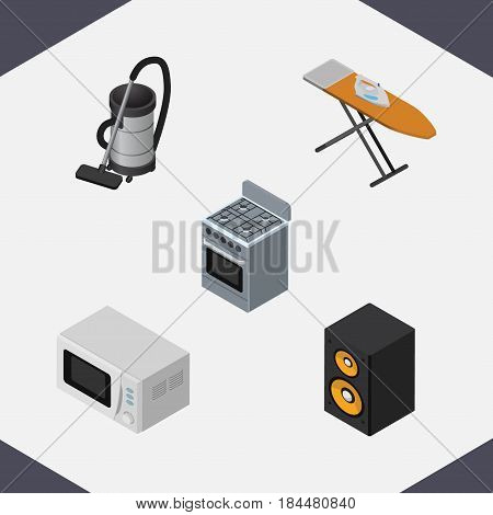Isometric Technology Set Of Music Box, Stove, Vac And Other Vector Objects. Also Includes Vac, Cleaner, Microwave Elements.