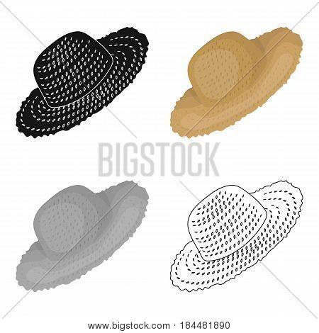 Straw hat for gardener. Headpiece for protection of the sun.Farm and gardening single icon in cartoon style vector symbol stock web illustration.