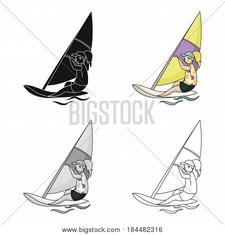 Girl in swimsuit on a sailing boat.The athlete involved in sailing at sea .Olympic sports single icon in cartoon style vector symbol stock web illustration.