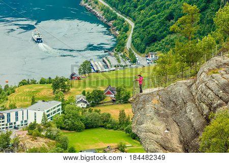 Geirangerfjord And Geiranger Village In Norway