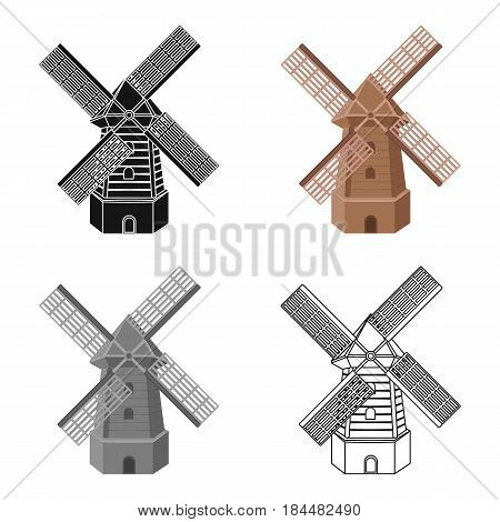 Rural wooden mill. Mill for grinding grain into flour.Farm and gardening single icon in cartoon style vector symbol stock web illustration.