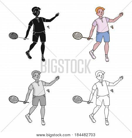 Young people involved in badminton. The game of badminton with a partner.Olympic sports single icon in cartoon style vector symbol stock webillustration.