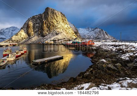 Hamnoy Village In Lofoten Islands Of Norway In Winter Time