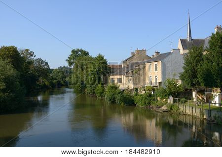 POITIERS, FRANCE - JUNE 26, 2013: Houses at the bank of Clain river. The city is the capital of the Vienne department and also of the Poitou province