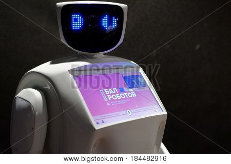 ST. PETERSBURG, RUSSIA - JUNE 28, 2016: Robot inviting visitors during the interactive exhibition Ball Of Robots. Last year the exhibition was visited by more than 200,000 people in 5 cities of Russia