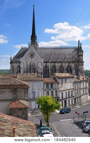ANGOULEME, FRANCE - JUNE 26, 2013: View to the church Notre-Dame dâ??Obezine. The church was built in 1895-1960, and listed as historical monuments in 2001