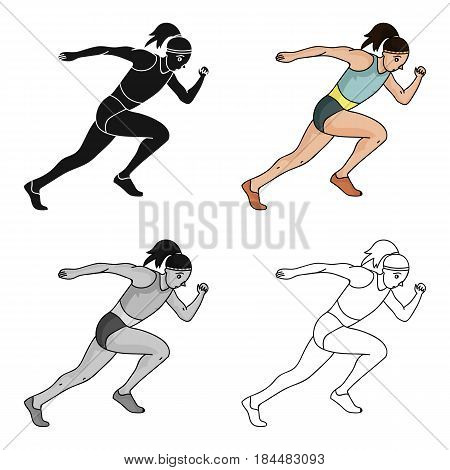 The girl is engaged in athletics.The Olympics in athletics.Olympic sports single icon in cartoon style vector symbol stock web illustration.