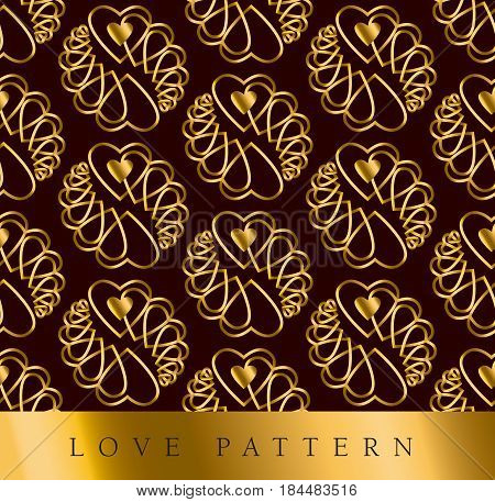 luxury style gold vector pattern with heart in art deco style