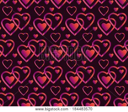 vector pink and black heart seamless luxury pattern