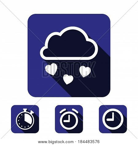 from the cloud falling hearts icon stock vector illustration flat design