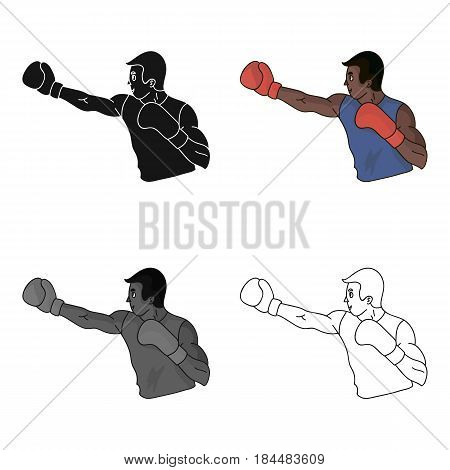 Brown boxer in Boxing gloves.The Olympic sport of Boxing.Olympic sports single icon in cartoon style vector symbol stock web illustration.
