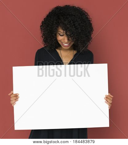 African descent woman holding placard