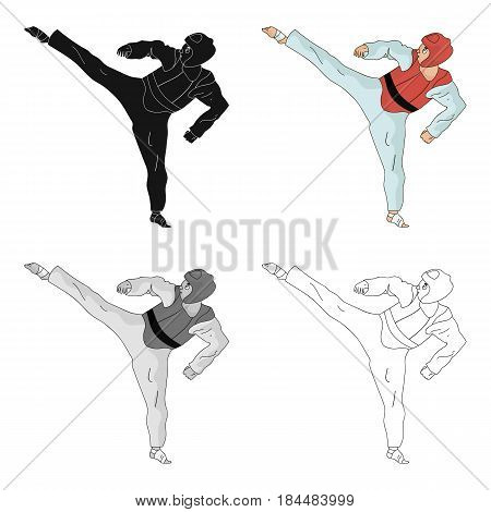 Taekwondo fighter in white kimono and red protection sports.Olympic sports single icon in cartoon style vector symbol stock web illustration.