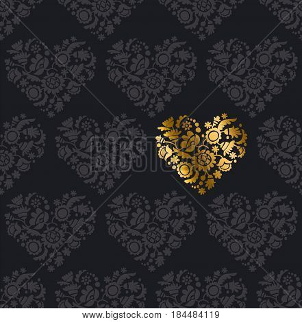 concept vector gold heart pattern on black background