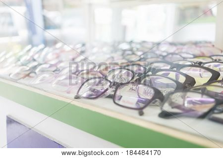 Perspective of eye glasses in the shop.Selective focus