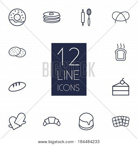 Set Of 12 Bakery Outline Icons Set.Collection Of Cookie, Waffle, Donuts And Other Elements.