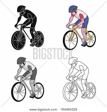An athlete with a helmet riding his bike on the field.Cycling.Olympic sports single icon in cartoon style vector symbol stock web illustration.