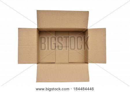 brown box open top view on isolated background