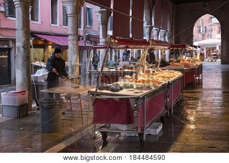 February 18, 2017 - People are shopping for fish at a market in Venice, Italy Fresh seafood photographed in fish market
