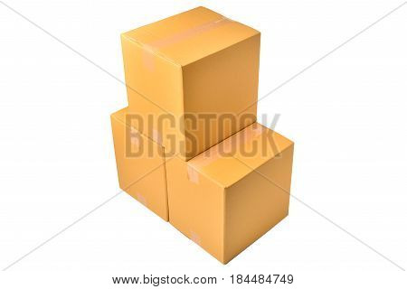 brown boxes for packaging on isolated background