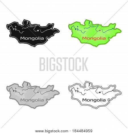 Green map of Mongolia.Mongolia on the world map.Mongolia single icon in cartoon style vector symbol stock web illustration.