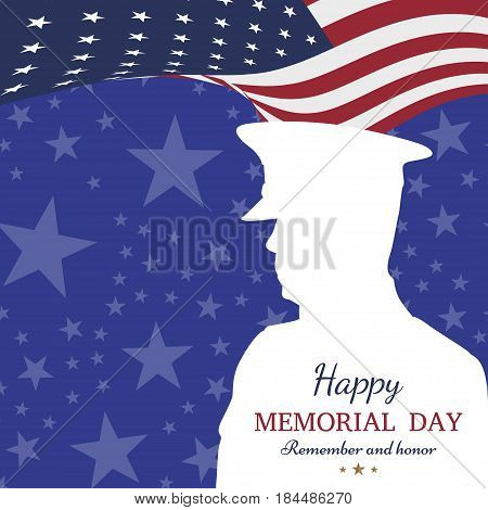 Happy memorial day. Greeting card with flag and soldier on background. National American holiday event. Vector illustration EPS10