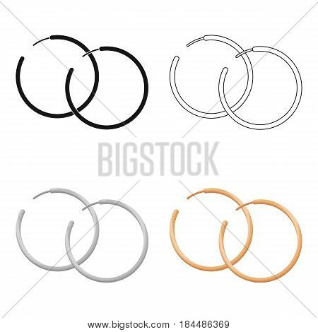 Hoop earrings icon in cartoon style isolated on white background. Jewelry and accessories symbol vector illustration.