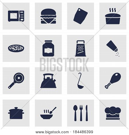 Set Of 16 Culinary Icons Set.Collection Of Pepperoni, Kitchen Rasp, Poultry Foot And Other Elements.