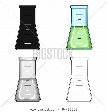 Volumetric flask with liquid.Medicine single icon in cartoon style vector symbol stock illustration .