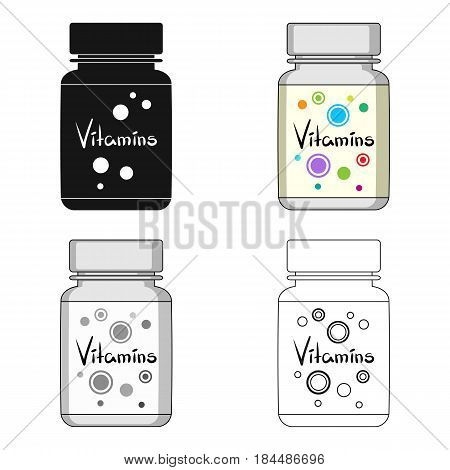 Packing with vitamins.Medicine single icon in cartoon style vector symbol stock illustration .