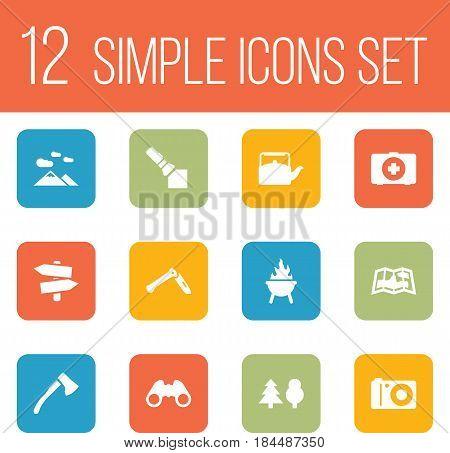 Set Of 12 Picnic Icons Set.Collection Of Jackknife, Tree, First Aid Box And Other Elements.