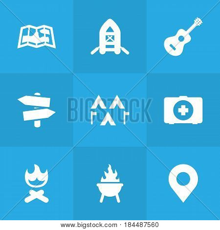 Set Of 9 Outdoor Icons Set.Collection Of Campfire, First Aid Box, Signpost And Other Elements.