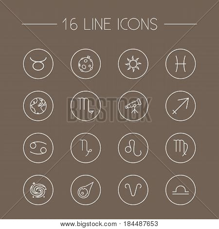 Set Of 16 Astrology Outline Icons Set.Collection Of Galaxy, Aries, Capricorn And Other Elements.