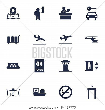 Set Of 16 Aircraft Icons Set.Collection Of Passport, Chopper, Data And Other Elements.