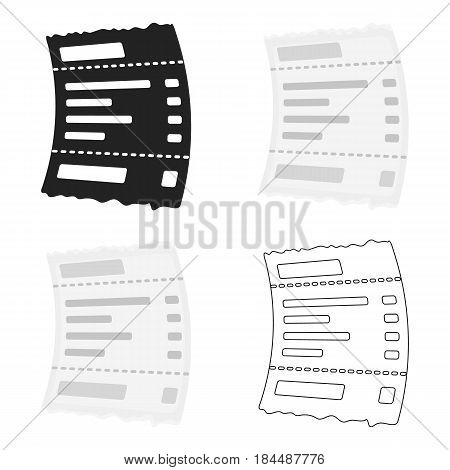 Receipt icon in cartoon style isolated on white background. E-commerce symbol vector illustration.