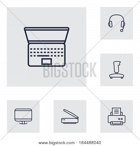 Set Of 6 Laptop Outline Icons Set.Collection Of Printer, Gamepad, Headphone And Other Elements.