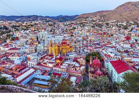 Our Lady of Guanajuato Church University Templo Companiea Templo San Diego Jardin Guanajuato Mexico From Le Pipila Overlook