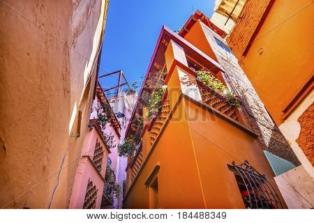 Kiss Alley Alleyway Colored Houses Guanajuato Mexico. Houses so close couple can exchange a kiss between balconies